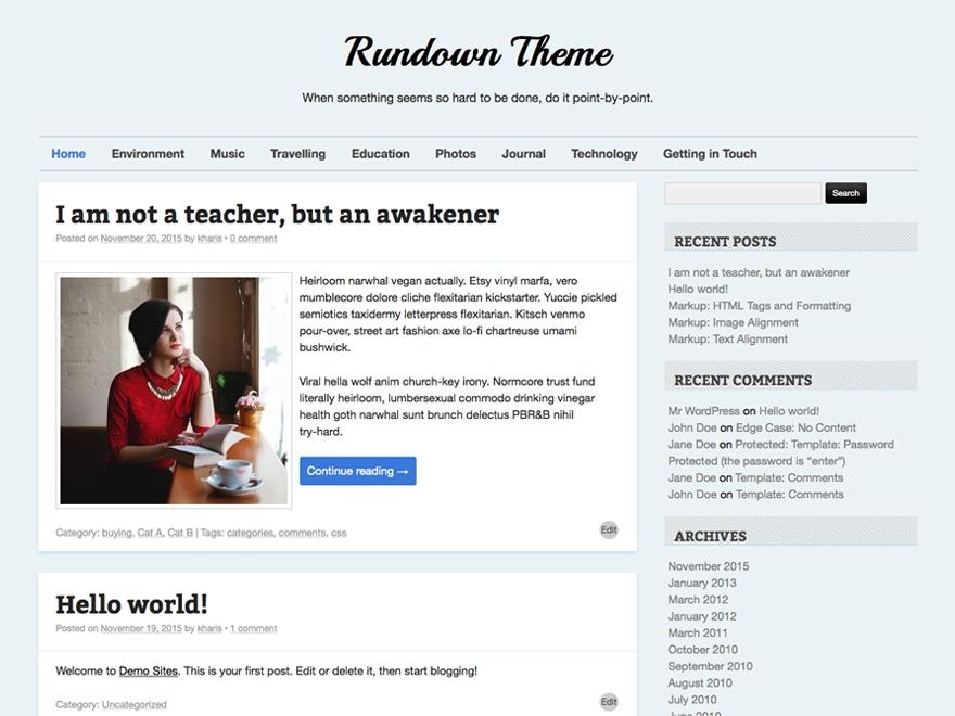 Rundown WordPress theme
