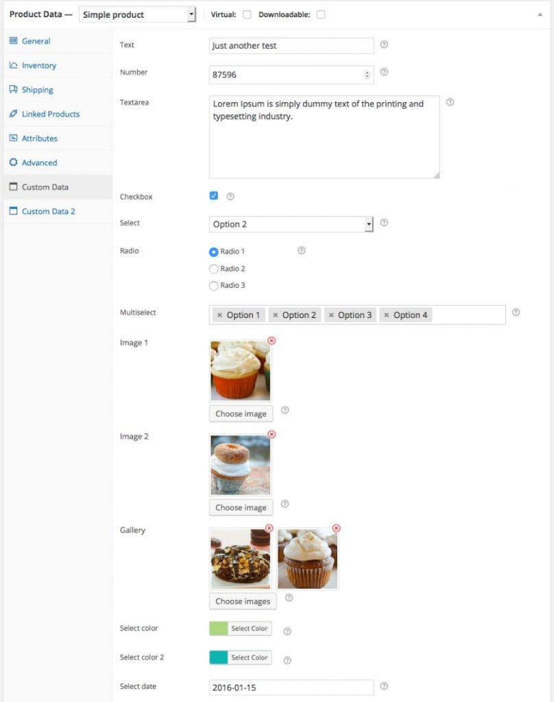 WooCommerce Custom Product Data Fields framework